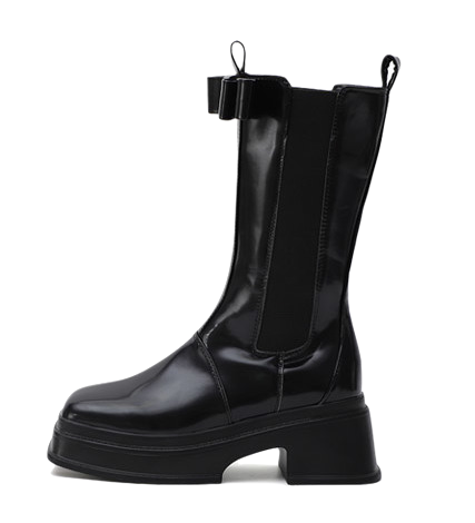 Square Nose Double Ribbon Whole Heel Chelsea Middle Boots 11085
