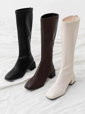 Semi-square nose back zipper unbalanced middle heel long boots 7085&11090 ♡5th sold out♡