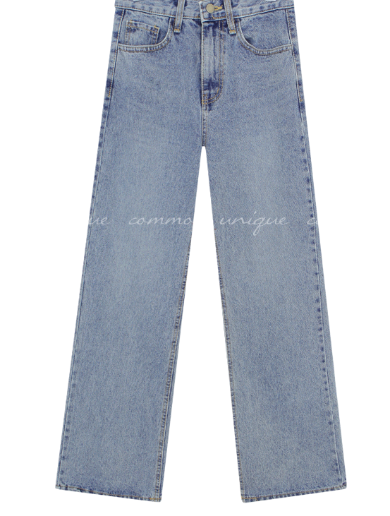 High Waist Washed Long Jeans