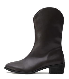 Pointed nose western line side half zip middle boots 11091