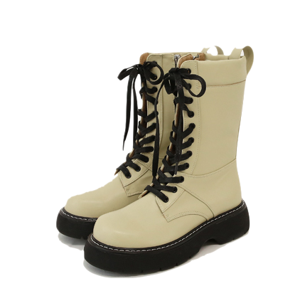 Lace-Up Faux Leather Boots