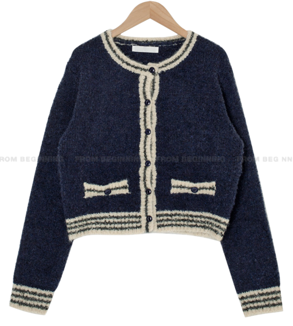 Terry Wool Color Matching Round Cardigan