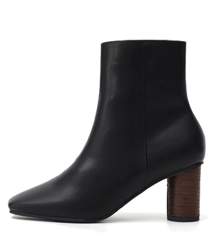Square Nose Round High Heel Side Zip Ankle Boots 1914