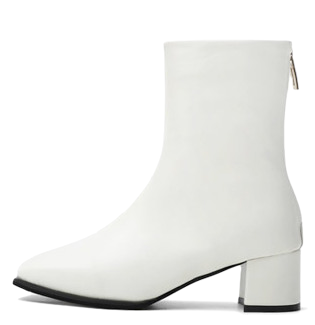 Square nose straight hole back zipper middle heel ankle boots 9161