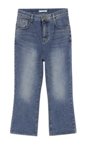 Boots-cut washing denim pants