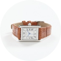 Square frame leather watch_A(size : one)