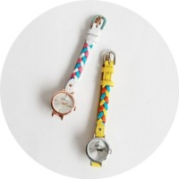 Color twist leather watch