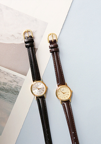 Slim Leatherette Strap Wristwatch