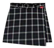 Heart check wrap skirt pants(Black)