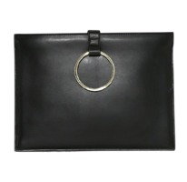 Gold Ring Clutch Real Leather
