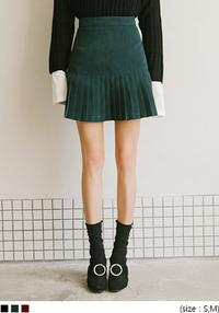 Pleated Hem Mini A-Line Skirt