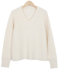 Cream v-neck wool knit_K