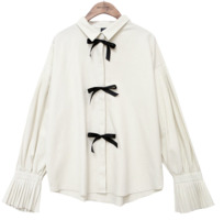 LOVELY PLEATS RIBBON BLOUSE