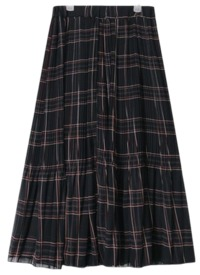 check pleats banding long skirt (2 colors)