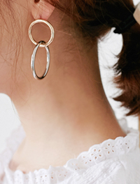 Two circle bold earring_H (size : one)