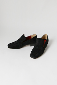 Modern two black loafer