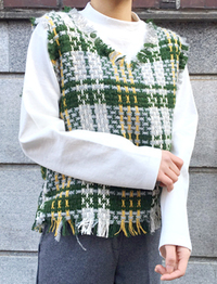 Scotch tweed V vest_H (size : free)