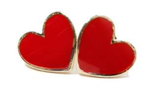 Solid heart earring_M (size : one)