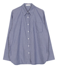 Wide cuffs stripe shirt