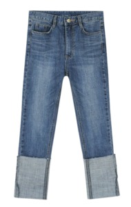 Roll-up blue washing skinny