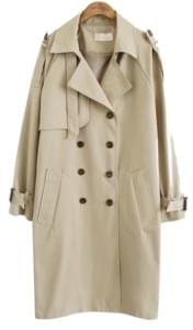 DOUBLE BUTTUON BELT TRENCH COAT
