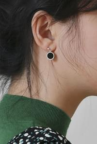 Silver circle onyx earring(silver 925)