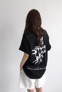 Back printing boxy tee (2color)