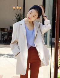 Sand linen over jacket_S (size : free)