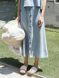 Lime linen button skirt_K(size : free)