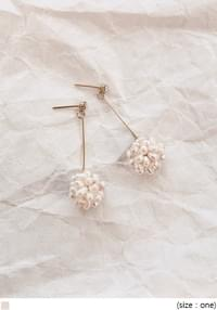 [JEWELRY] PEARL BALL CUBIC STICK EARRING