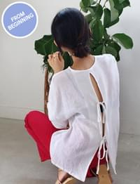 Made_top-181_back ribbon blouse (size : free)