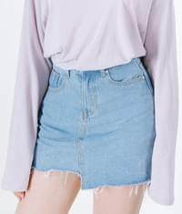 Unbalanced denim skirt pants