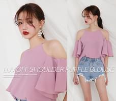 LUV OFF SHOULDER RUFFLE BLOUSE