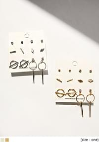 SIMPLE ROUND MIX SET EARRING