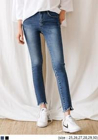 STRAIGHT V CUTTING DENIM PANTS