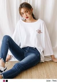 [TOP] LASVEGAS OVER FIT EMBROIDERY T