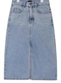 casual slit detail denim skirt (s, m)