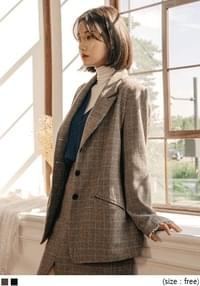 [OUTER] DAB WOOL CHECK SET JACKET
