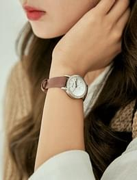 round frame leather watch