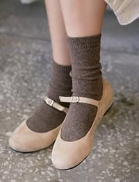 Melange knit socks_H (size : one)