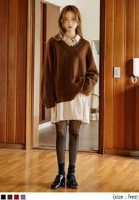[TOP] CLOSE BALLOON V NECK WOOL KNIT