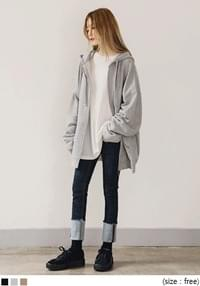 [OUTER] DAILY BOXY FIT HOOD ZIPUP