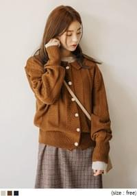 [OUTER] ANN COLLAR KNIT CARDIGAN