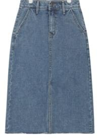casual front slit denim skirt (s, m, l)