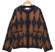 ARGYLE ROUND NECK CARDIGAN