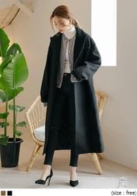 [OUTER] HIDDEN BUTTON WOOL LONG COAT
