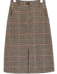 DEEP CHECK BANDING MIDI SKIRT