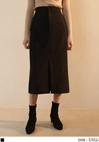 BLACK SLIT LONG SKIRT - 2 TYPE