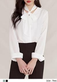 [TOP] TIE CHIFFON V NECK BLOUSEWITH CELEBRITY _  김비서가 왜 그럴까 박민영 착용