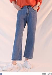 [BOTTOM] STRAIGHT CROP DENIM PANTS